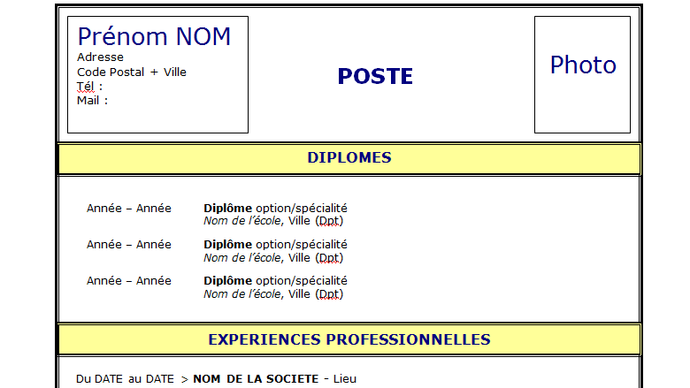 modele cv plus simple
